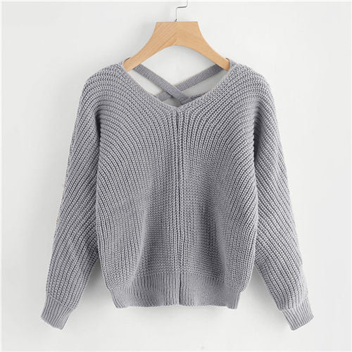 Pink Criss Cross V Back Chunky Knitted Casual Women Sweater  Autumn Solid Khaki Sweater Grey Pullovers Jumper