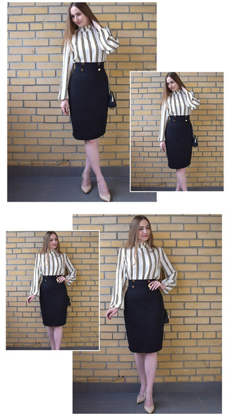 White Striped Stand Collar Elegant Tops Office Ladies Workwear Long Sleeve Regular Fit Women Autumn Blouses