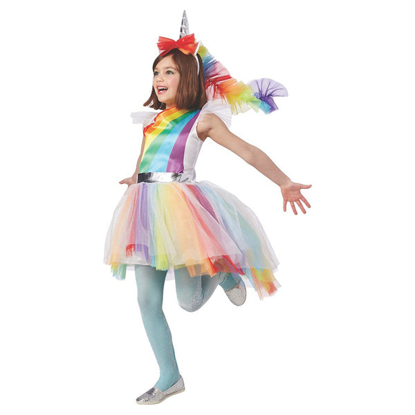Child Girls Colorful Magical Hues Rainbow Unicorn Fantasy Fancy-Dress Kids Halloween Carnival Party Costume