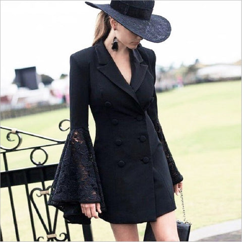 Lace Bell Flare Sleeve Blazer Women Hollow Out V Neck Double Breasted Suit Collar Tunic Plus Size Coat Female Autumn