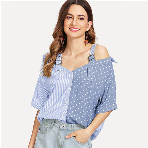 Open Shoulder Contrast Panel Cotton Shirt Women Casual Summer Straps Half Sleeve Tops Ladies Striped Polka Dot Blouse