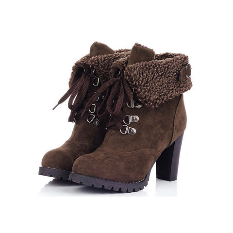 Women High Heel Boots Warm Cotton Women Shoes Ladies Ankle Snow Boots Women Winter Shoes  Fashion Female Footwear CBT1072
