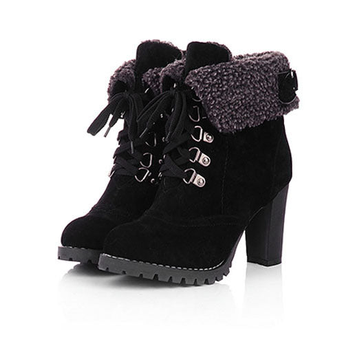 e97c1311ee7 ... Women High Heel Boots Warm Cotton Women Shoes Ladies Ankle Snow Boots  Women Winter Shoes Fashion ...
