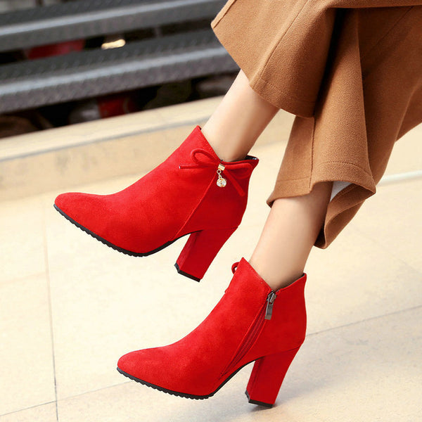 689ba1f324e ... Women Flock Thick High Heel Side Zipper Ankle Boots Cute Bow Knot  Pointed Toe Winter Shoes ...
