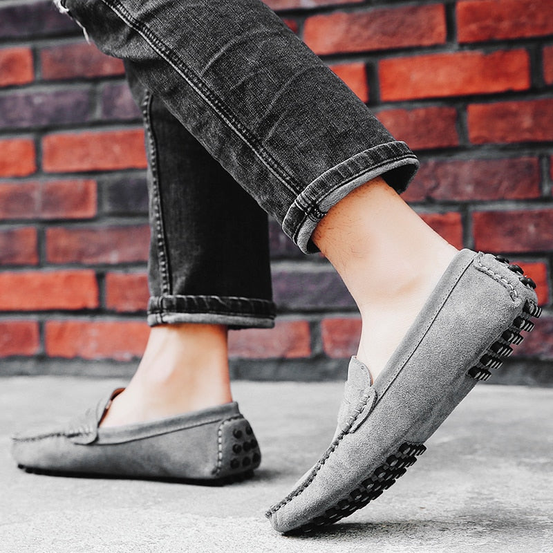 d0ca07ea395 Fashion Summer Soft Moccasins Men Loafers Men Casual Suede Leather Loafers  Slip On Gommino Driving Shoes ...
