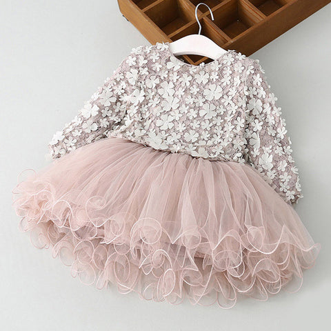 Babe Lace Long Sleeve Dresses For Girl Tulle Flower Kids Toddler Pageant Dresses for Wedding Party Children School Clothing