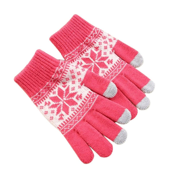 Men/Woman Knitted Gloves Touch Screen Girl Female Winter Autumn Snowflake Print Thick Touch Screen Knit Stretch Gloves