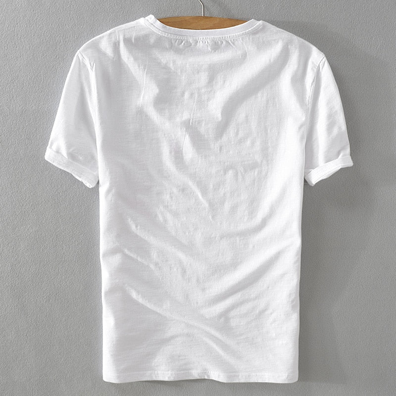 New trend summer men short sleeve t-shirt linen white fashion loose t shirts embroidery stitching shirt male camiseta M-3XL
