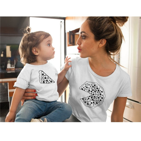 c1b27de868899 Family Matching Clothes Print Pizza Father Mother Son Daughter Outfits  Summer Family Creative T-shirt