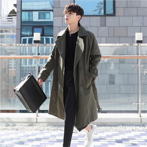 Long Trench Coat Men Double Breasted Thin Windbreaker Male Spring Autumn Loose Casual Trench Coat Homme