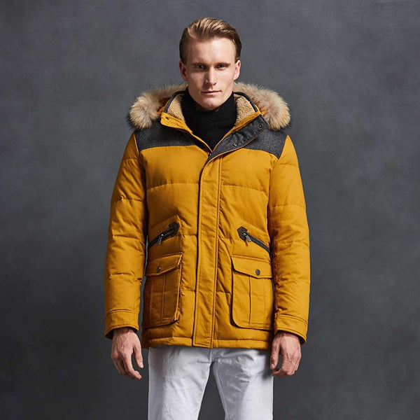 Men Down Jacket 90% White Duck Down High Quality Yellow Winter Coat Fashion Jacket Short Parka Coat Casual Free Shipping