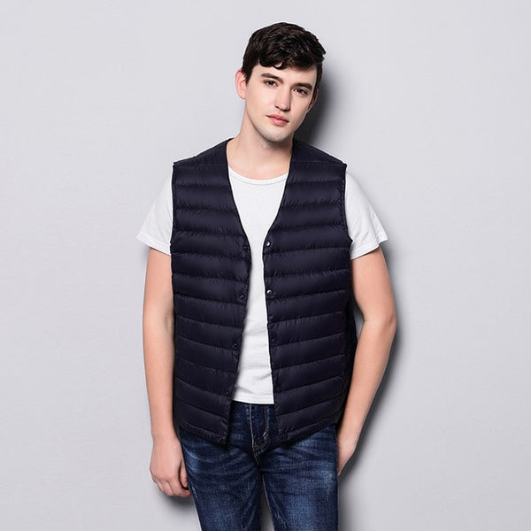 Mens Down Vest Ultra Light Down Vest Men Portable V-neck Sleeveless Without Collar Warm Liner With Carry Bag