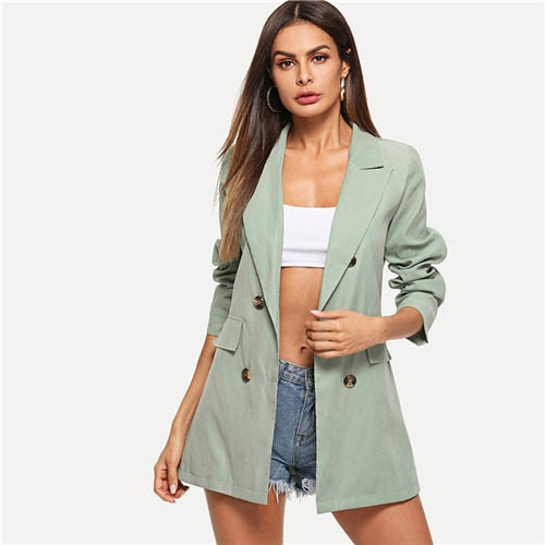Green Workwear Double Breasted Blazer Suit Coat Business Female Autumn Solid V Neck Elegant Office Lady Blazer