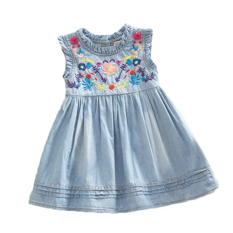 Girls Denim Dress Princess Dress embroidered Sleeveless high quality casual comfortable children's clothing k1