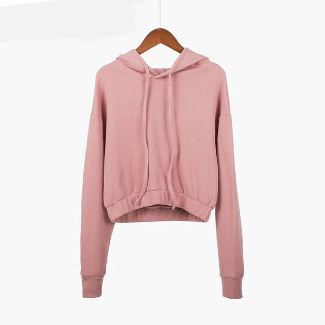 6 Solid Color Hooded Crop Top Hoodie All-match Comfortable Harajuku Sweatshirt Kpop Thin Basic Blue Pink Moletom Feminino