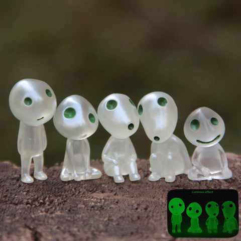 Princess Mononoke Luminous Elves Tree Doll Elf Posture Figurines Cartoon Alien Small Cute Kodamas Toys Spirit
