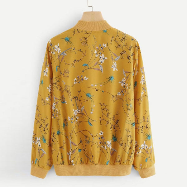 Autumn Women Floral Print Zipper Bomber Jacket Outwear Coat Yellow Long Sleeve Zipper Coat Outerwear Women Shirt