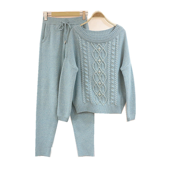 Winter Diamond beading Woolen and Cashmere Knitted Suit Slash neck Sweater + Mink Cashmere Trousers Leisure Two-piece wj1226
