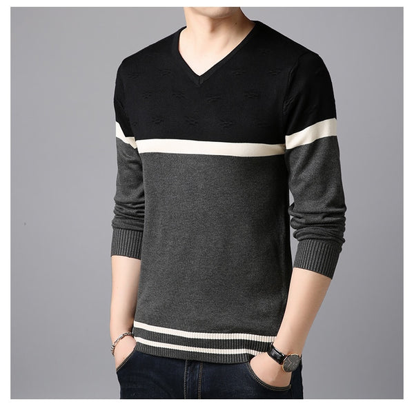 New Fashion Brand Sweater  Man Pullovers Warm Slim Fit Jumpers Knitwear Woolen Autumn Korean Style Casual Mens Clothes