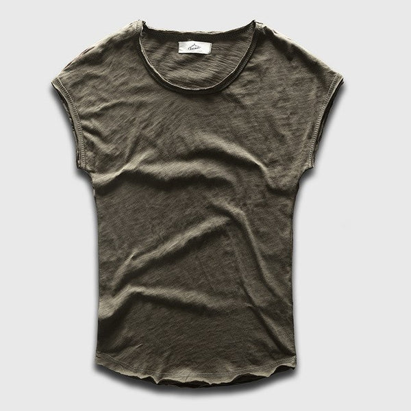 Cool Summer Men T Shirt Round Neck Ripped Tee Shirts Short Batwing Sleeve Top Plain Solid Fashion Male Clothes