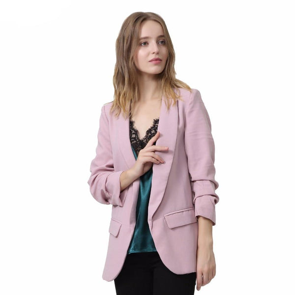 women elegant 4  blazer crimping three quarter sleeve outerwear notched pocket office casual tops CT1504