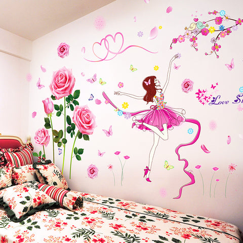 Female Dancer Wall Stickers Vinyl DIY Flowers Wall Decals for Girls Rooms Kindergarten Living Room Decoration