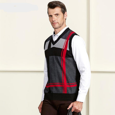 100% Cashmere Mens V Neck Sleeveless Argyle Sweater Vest New Fashion