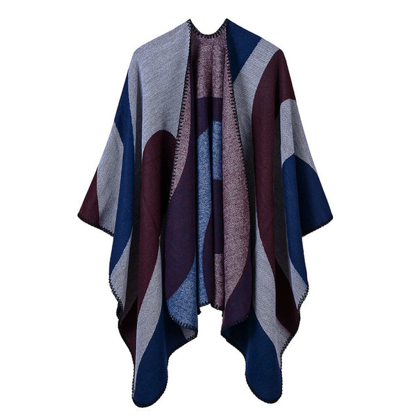 new winter poncho and cap for women knitted thick warmer lady scarf striped Blanket cashmere like echarpe pashmina shawls