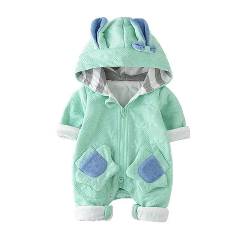 Newest Kids Boy Girl Rompers Cute Rabbit Ears Hooded Autumn Winter Jumpsuit Baby Clothes Newborn One Piece Outwear