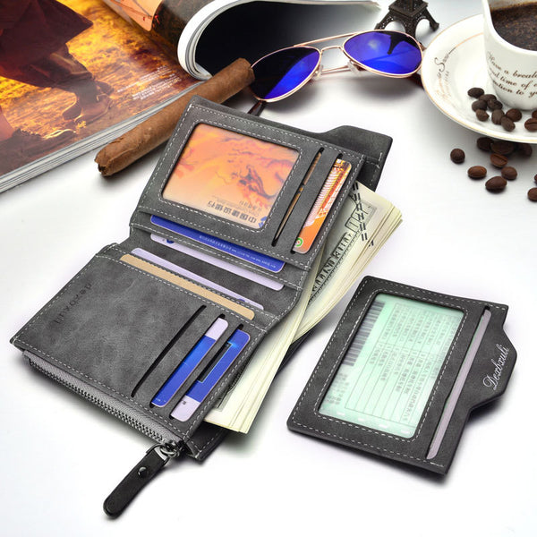 Fashion men wallets Bifold Wallet ID Card holder Coin Purse Pockets Clutch with zipper Men Wallet With Coin Bag Gift