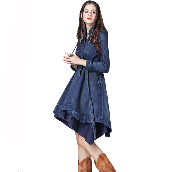 Geometric Embroidery Denim Trench Coat For Women Asymmetric Vintage Coats With Sashes Outerwear Overcoats TB9223