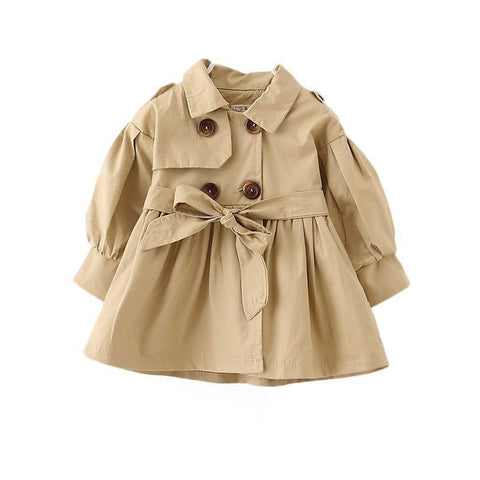 Spring Autumn England cotton baby girl windbreaker Solid color fashion long coat for 0-3 Yrs Infants and young children