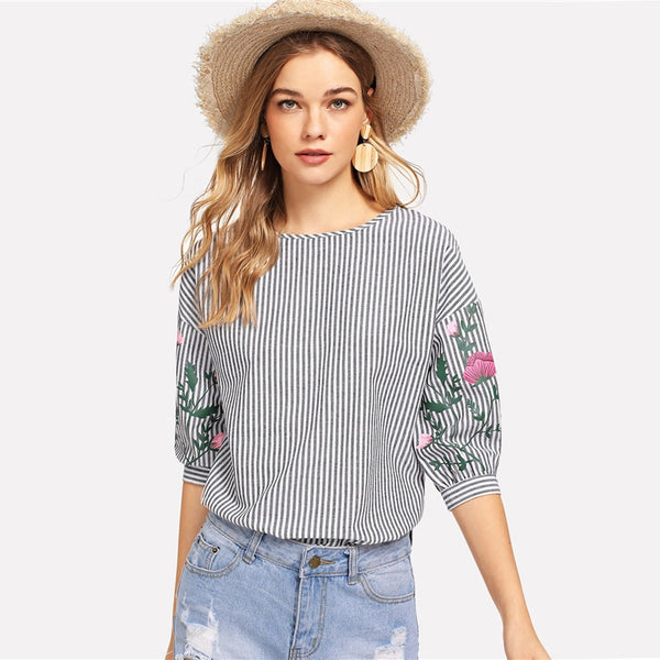 Striped Flower Print Casual Top Womens Tops And Blouses Women Half Sleeve Black and White Elegant Blouse