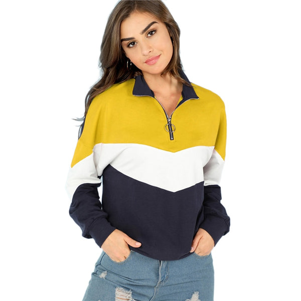 Multicolor O-Ring Zip Front Cut and Sew Sweatshirt Casual Stand Collar Raglan Sleeve Sweatshirt Women Autumn Pullovers
