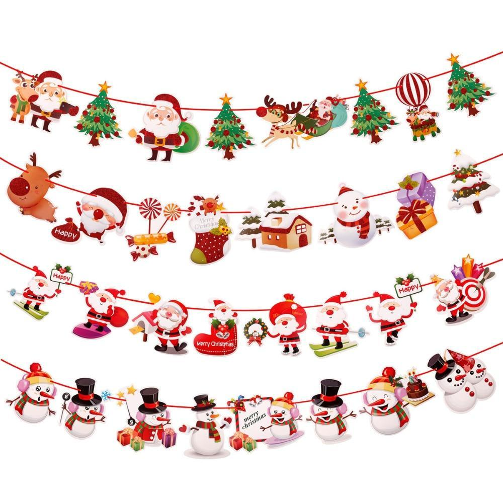 christmas banner wall hangings christmas ornaments pendant xmas ornaments merry christmas decorations for home - Merry Christmas Decorations