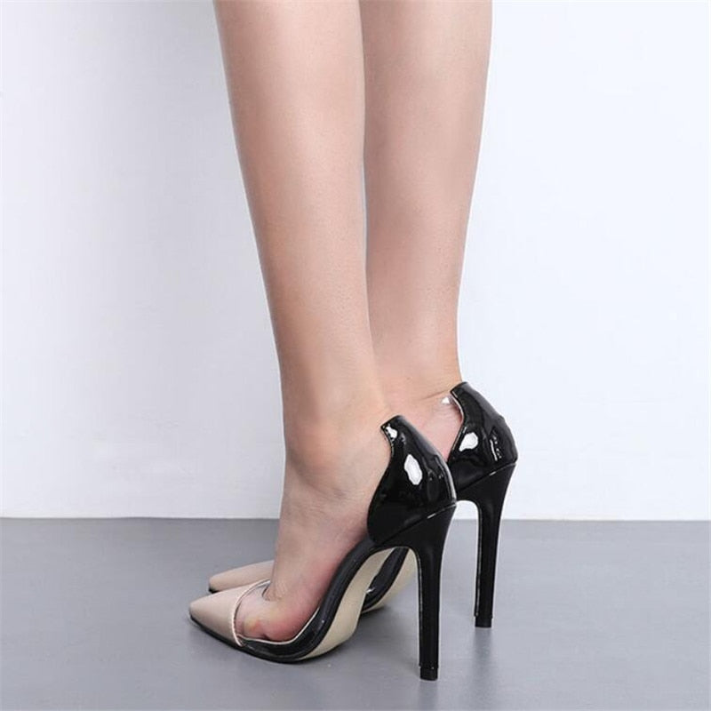 f0e95f00773 Women Pumps Clear PVC High Heels Sandals Point Toes Stilettos Pumps  Nightclub Dress Work Shoes Woman ...