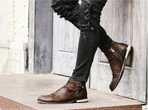 Handmade Retro Full Grain Designer Formal Mens Zipper Dress Boots Brown Brogue Booties Ankle Luxury Genuine Leather Shoes Fall