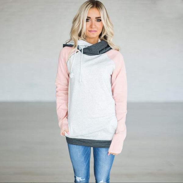 New Autumn Winter Casual Women Patchwork Striped Pullover Warm Long Sleeve Hoody Tops With Pockets Double Hood Hooded Sweatshirt