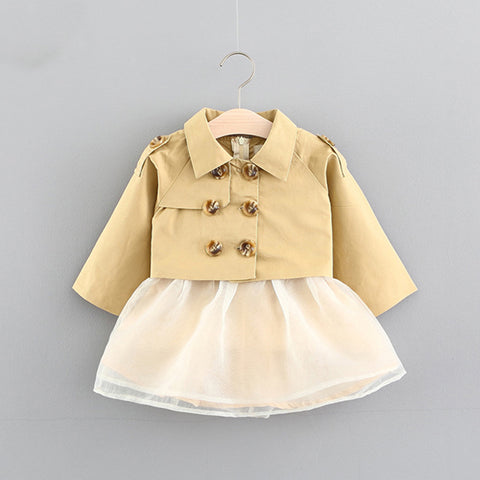 kids formal gown dress autumn winter 1st birthday newborn baby girl dresses wedding sleeveless bow Vest dress+coat 2pc suit 0-3T