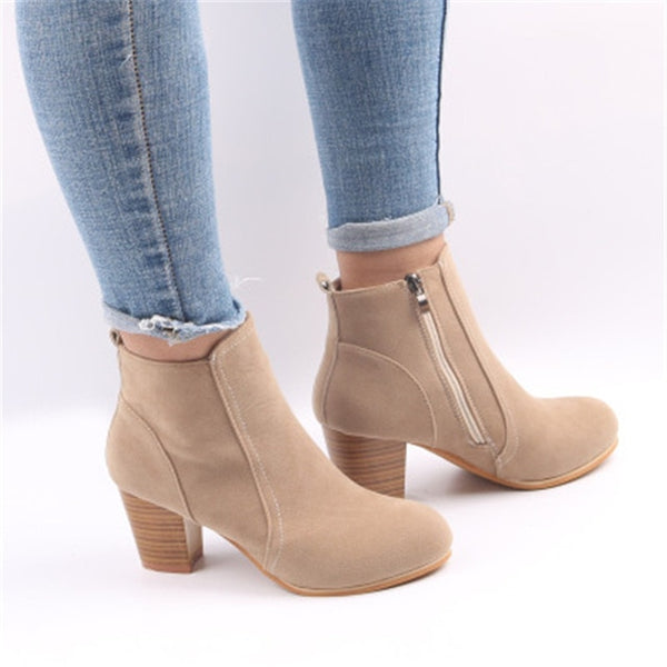 Women Boots Flock Ankle Boots Spring Autumn Women Boots Ladies Party Western Stretch Fabric Boots Plus Size 35-42