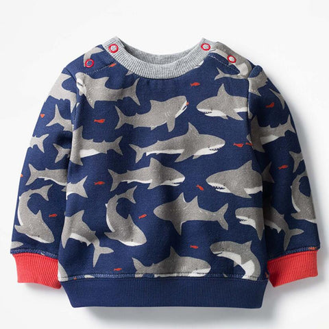 Children brand baby boy clothes autumn boys cotton long sleeve shark print t shirt C0109