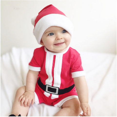 XMAS Baby Boy Girl Cotton Romper+Hats 2pcs Newborn Short Sleeve Romper New Year's Jumpsuit Christmas Santa Costume Baby Clothing