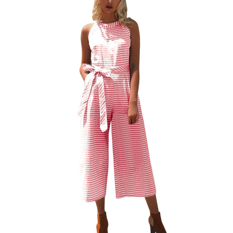 Women Sleeveless Striped Jumpsuit Casual Clubwear Wide Leg Pants Outfit