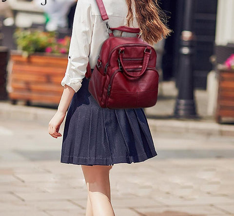 Backpack women Bolsas Leather NEW Backpacks female Vintage School Bag Women Hot Sale Satchel Travel Shoulder Bag