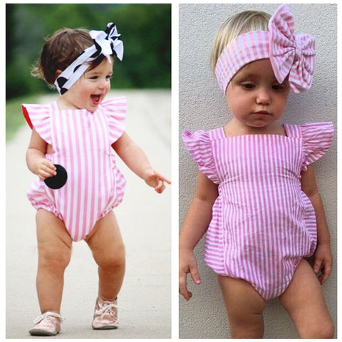 New Bodysuits Newborn Infant Baby Girl Clothes Stripe Cotton Quality Bow Casual Pink Jumpsuit Sunsuit Bodysuit Baby Girl