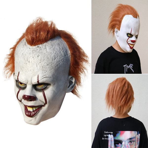Halloween Masquerade Mask Full Face Movie Stephen King's Pennywise Clown Horrible Latex Joker Mask Cosplay Costume Props