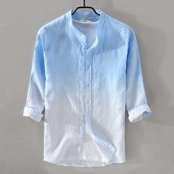 New summer men's linen shirt men brand three-quarter sleeve shirt mens gradient blue shirts male casual camisa