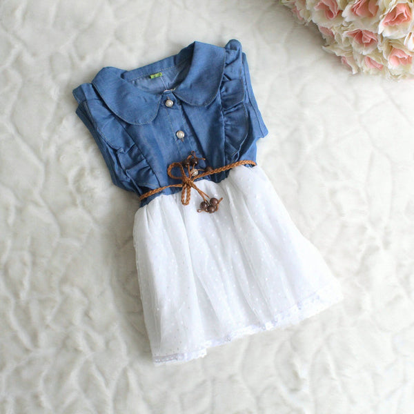 NEW summer Baby Girls Kids Princess denim Dress girl's dresses child's clothing 2-5years free shipping