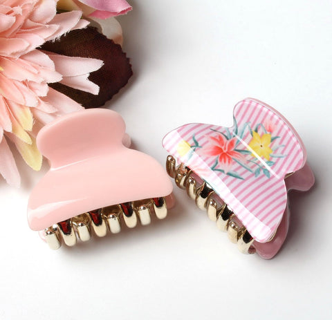 4cm Mini Hair Clip Set Flower Printing Hair Claws Acrylic Solid Hair Clips For Girl Hairpins Hair Accessories
