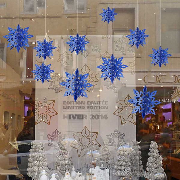 6 Pcs/Set Cardboard 3D Hollow Snowflake Hanging Ornaments New Year's Christmas Decorations for Home Party Decoration Natal.Q